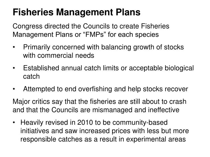 Fisheries Management Plans