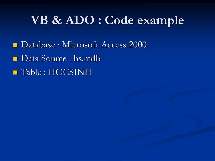 VB & ADO : Code example