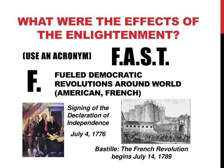 What were the effects of the enlightenment?
