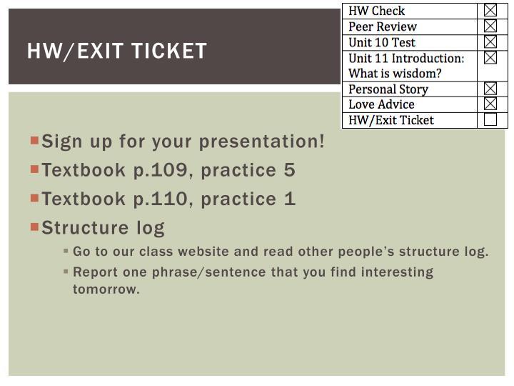 HW/Exit Ticket