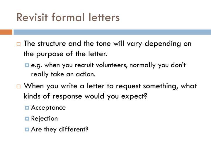 Revisit formal letters
