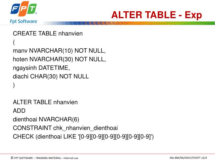 ALTER TABLE - Exp