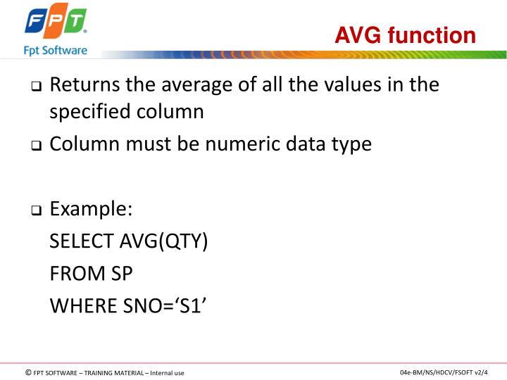 AVG function