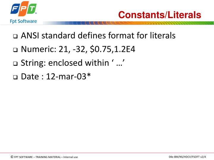 Constants/Literals