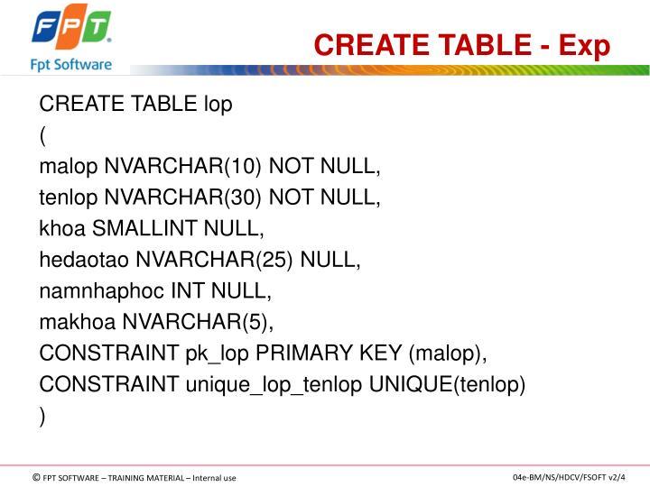 CREATE TABLE - Exp