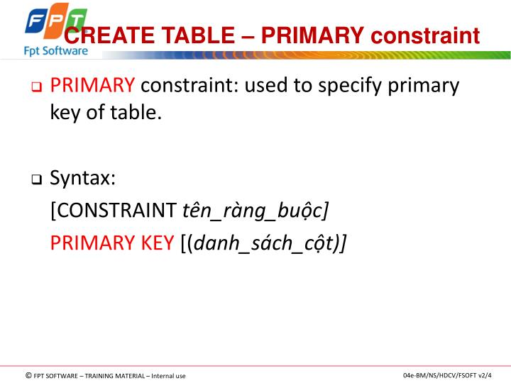 CREATE TABLE – PRIMARY constraint