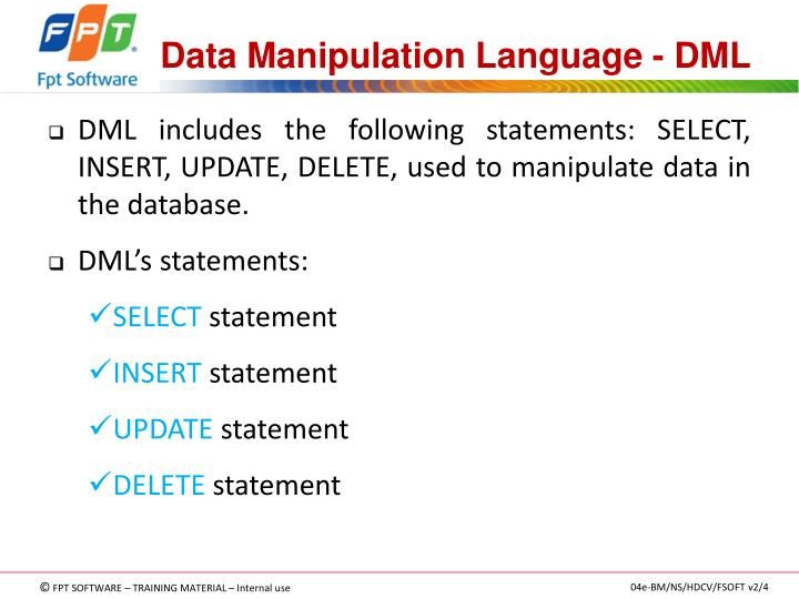 Data Manipulation Language - DML