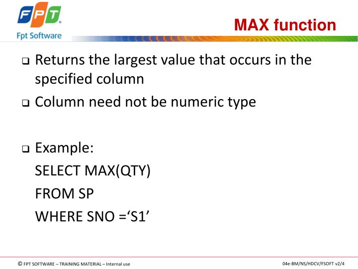 MAX function