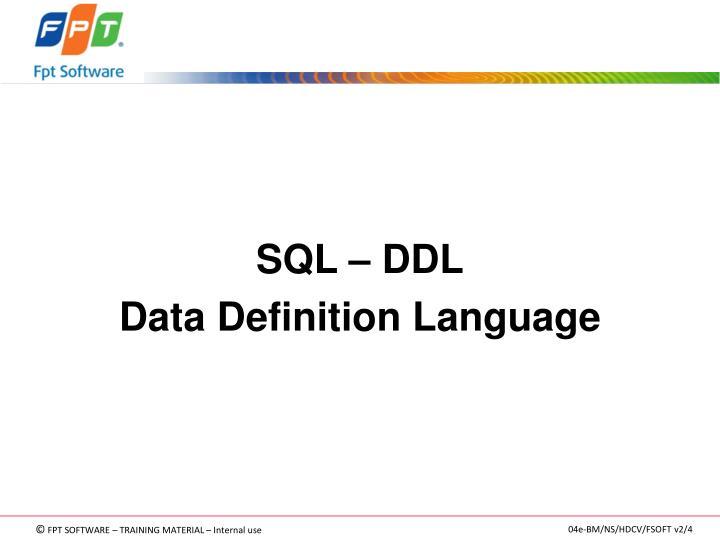 SQL – DDL