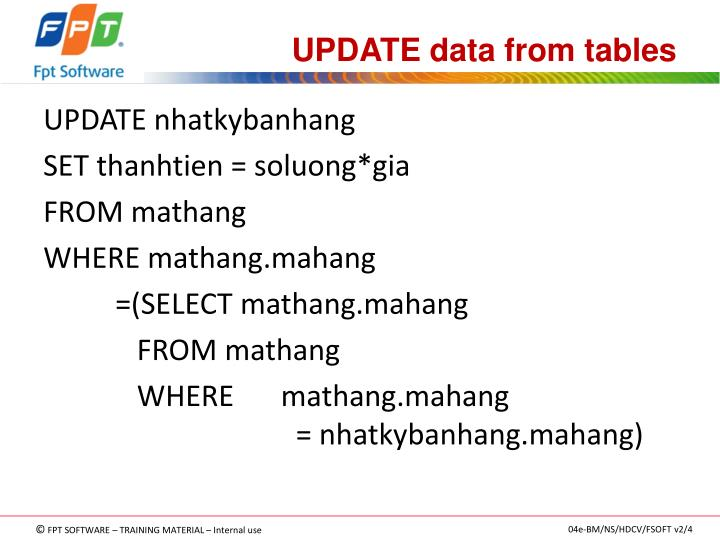 UPDATE data from tables