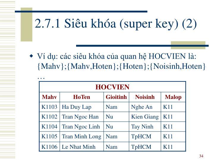 2.7.1 Siêu khóa (super key) (2)