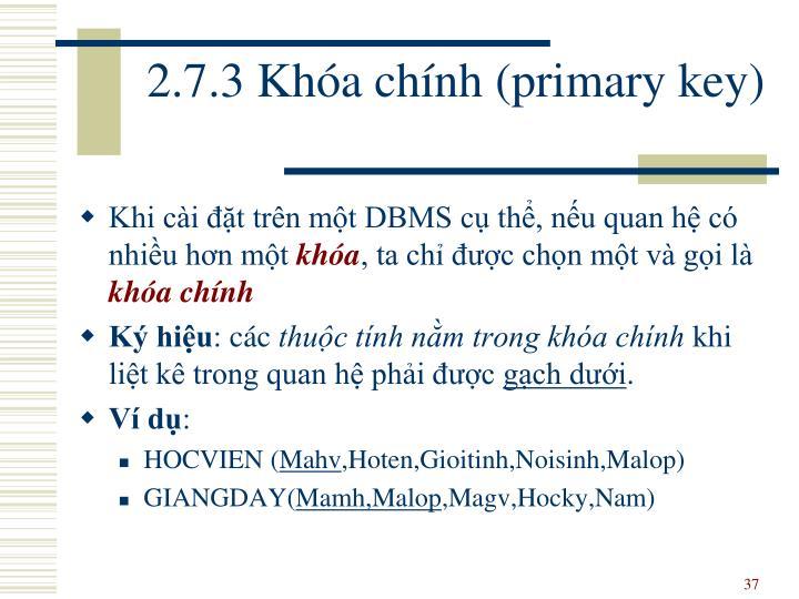 2.7.3 Khóa chính (primary key)