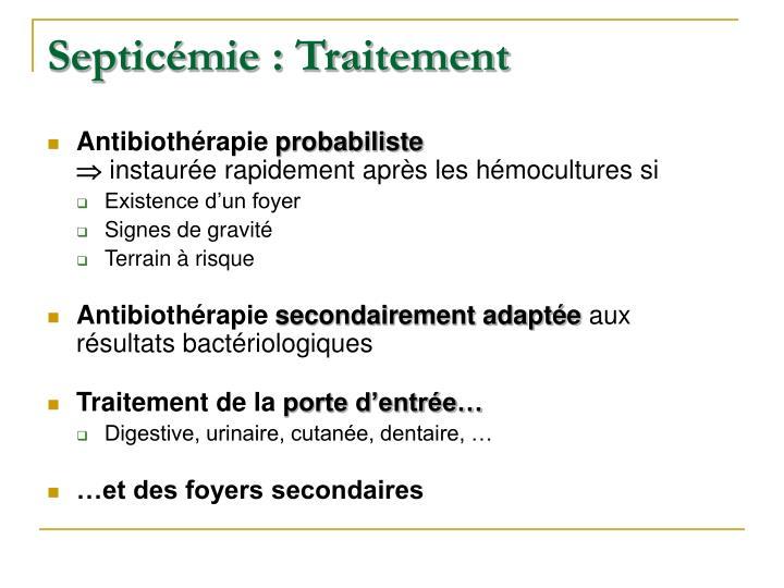 Septicémie : Traitement