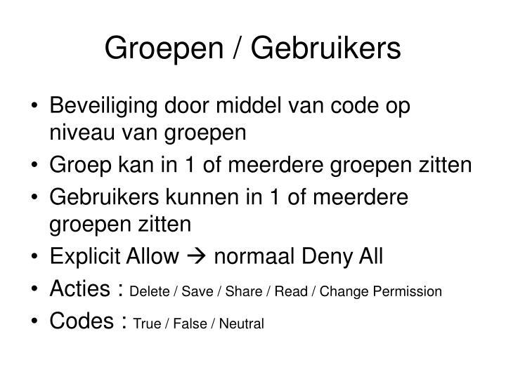 Groepen / Gebruikers