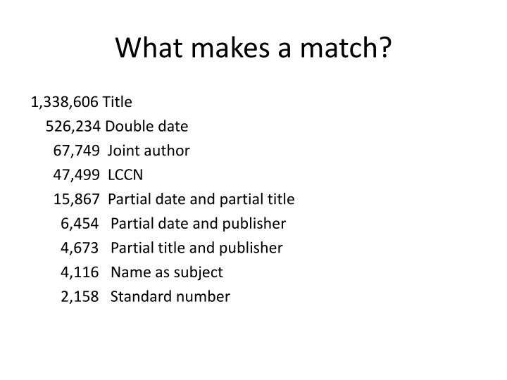 What makes a match?