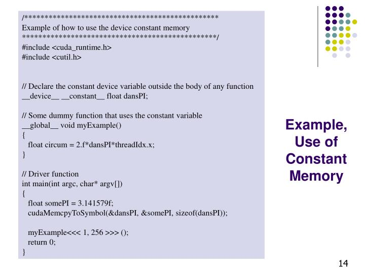 Example, Use of Constant Memory