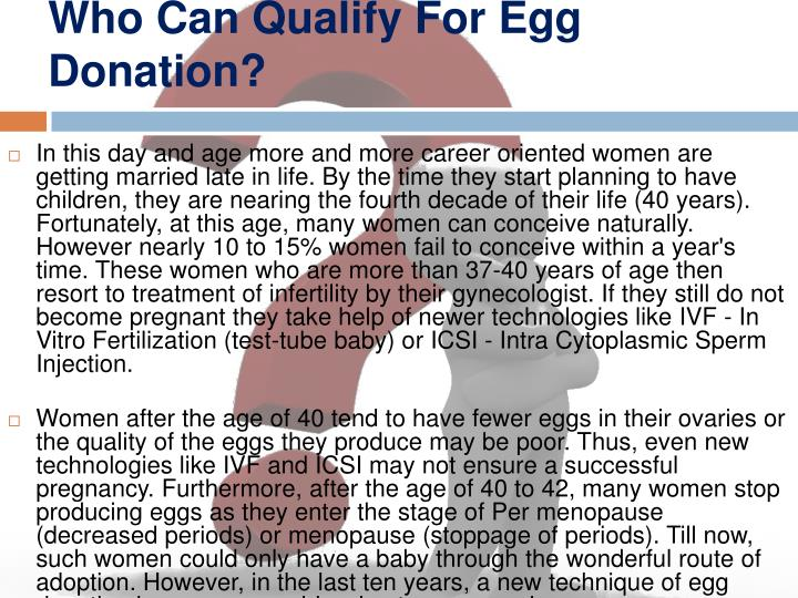 Who can qualify for egg donation