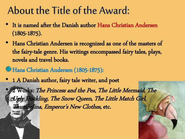 About the Title of the Award: