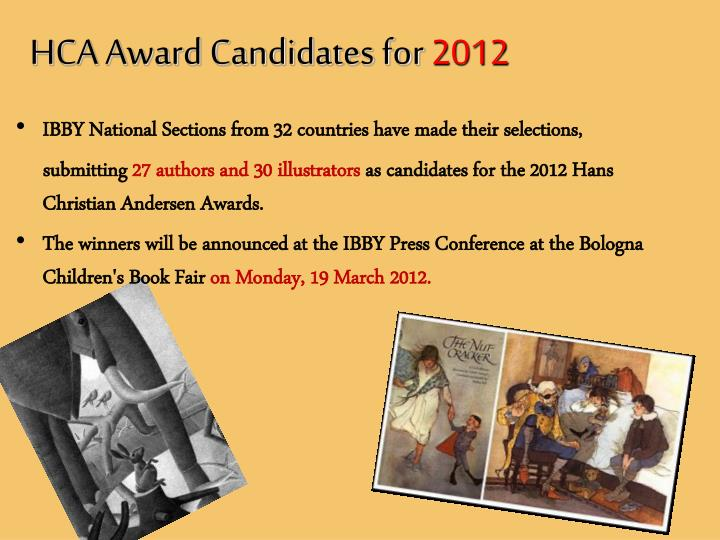 HCA Award Candidates for