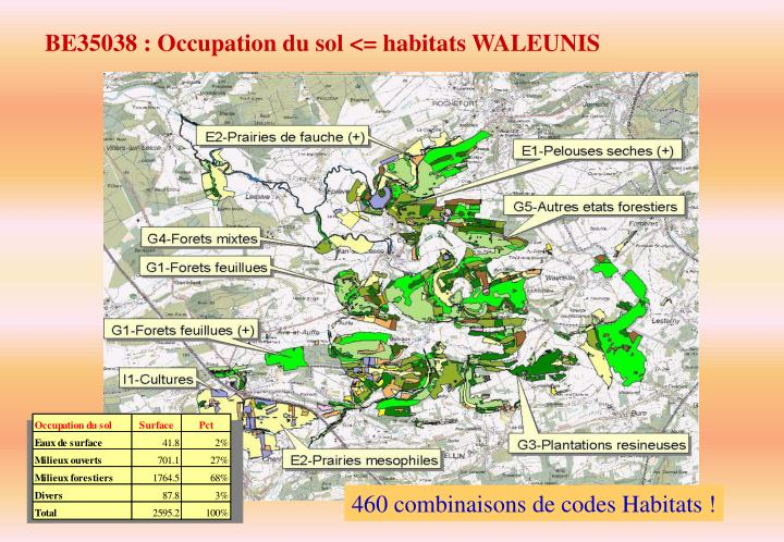 BE35038 : Occupation du sol <= habitats WALEUNIS