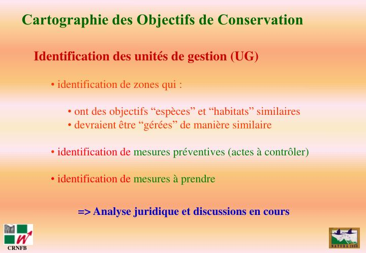 Cartographie des Objectifs de Conservation