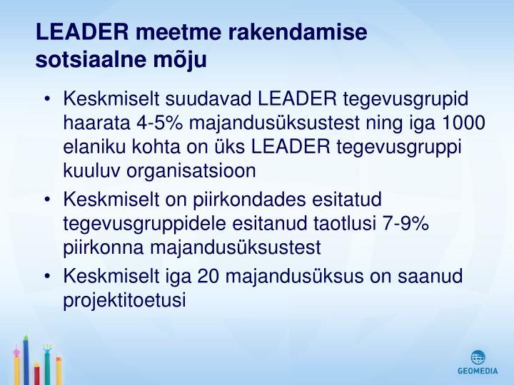 LEADER meetme rakendamise sotsiaalne mõju