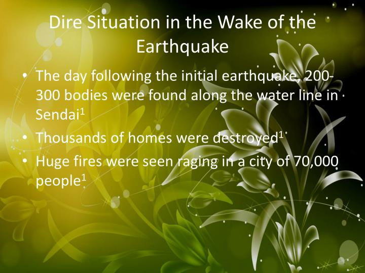Dire situation in the wake of the earthquake