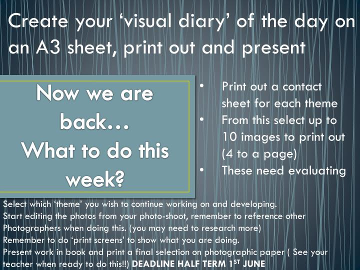 Create your 'visual diary' of the day on an A3 sheet, print out and present