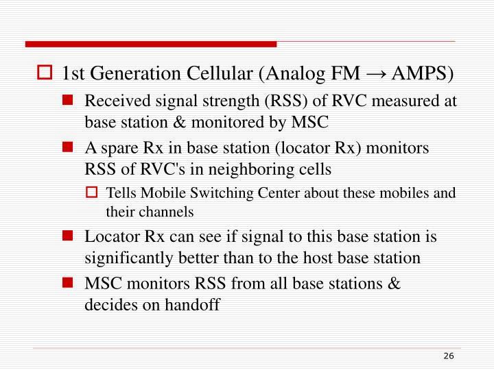 1st Generation Cellular (Analog FM