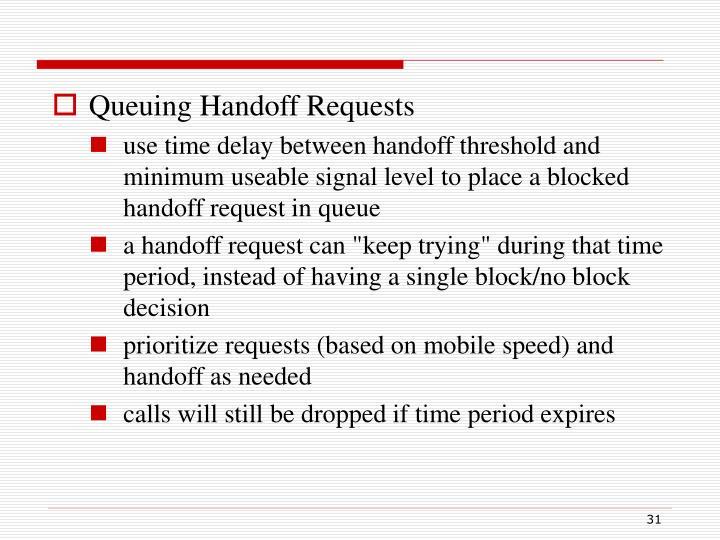 Queuing Handoff Requests