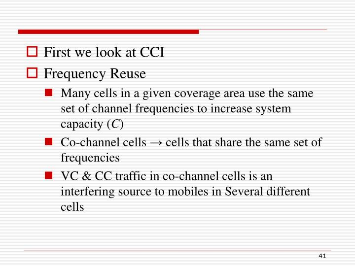 First we look at CCI