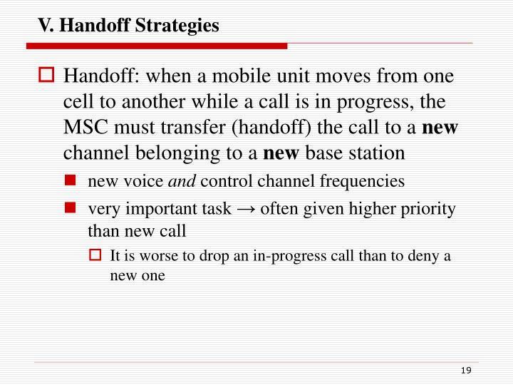 V. Handoff Strategies