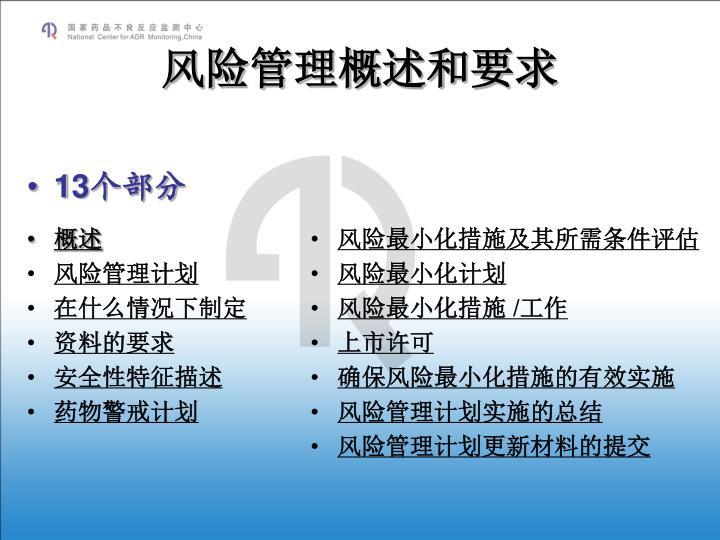 风险管理概述和要求