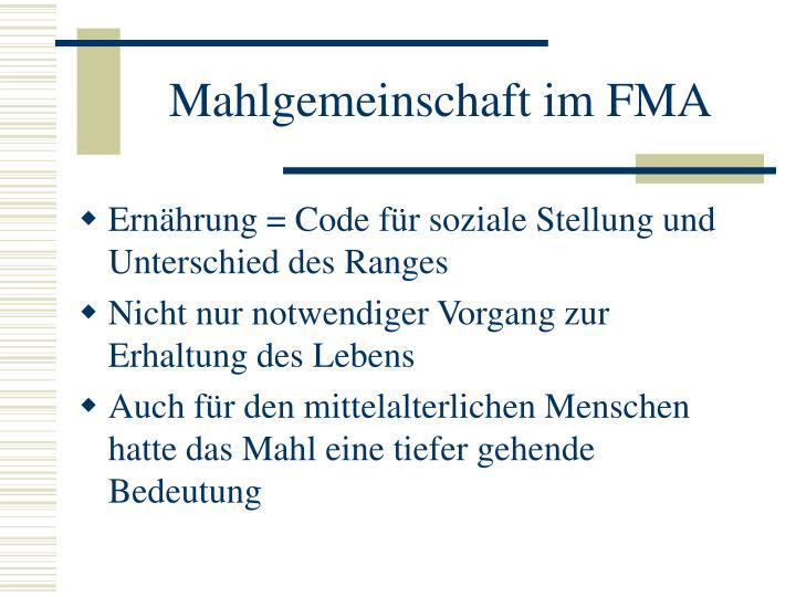 Mahlgemeinschaft im FMA