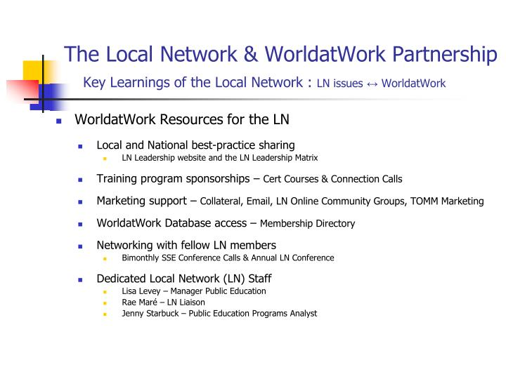 The Local Network & WorldatWork Partnership