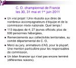 c o championnat de france les 30 31 mai et 1 er juin 2011