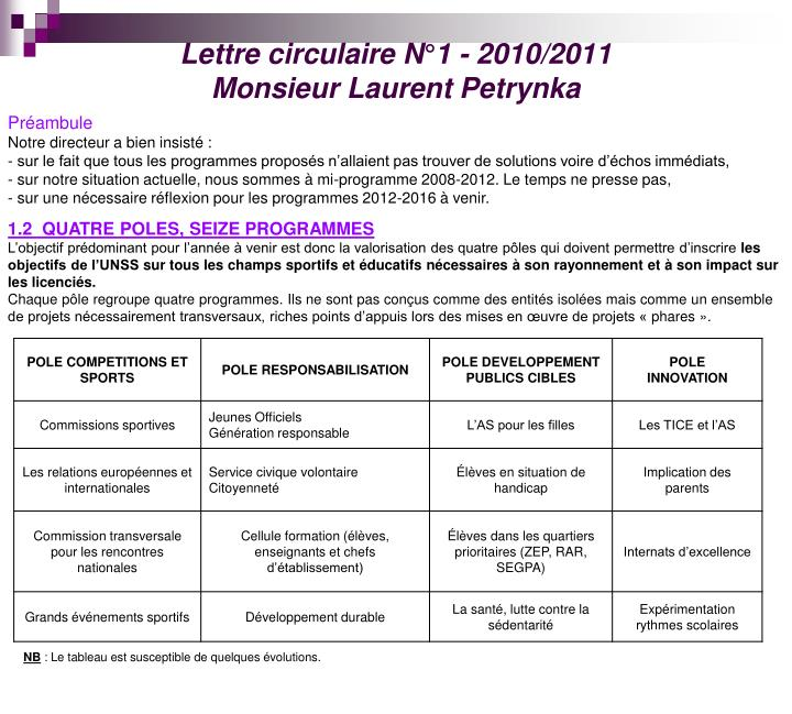 Lettre circulaire N°1 - 2010/2011