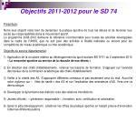 objectifs 2011 2012 pour le sd 74