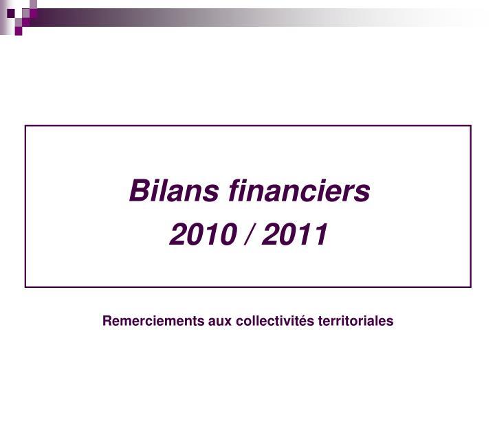 Bilans financiers