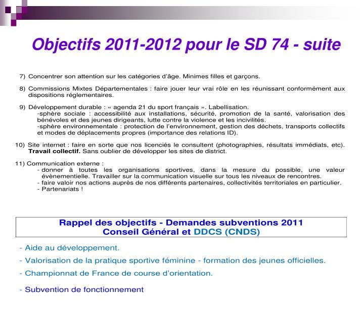 Objectifs 2011-2012 pour le SD 74 - suite