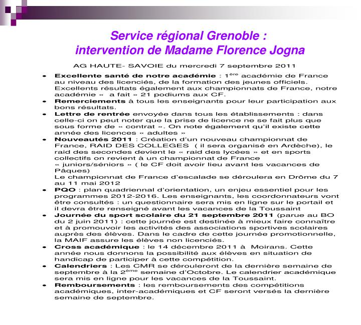 Service régional Grenoble :