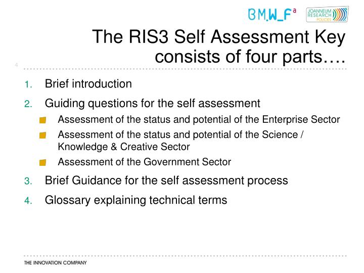 The RIS3 Self Assessment Key consists of four parts….