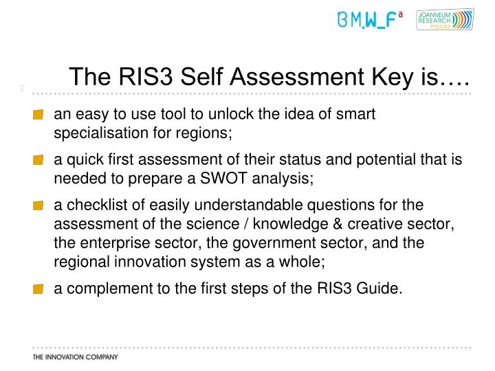 The RIS3 Self Assessment Key is….