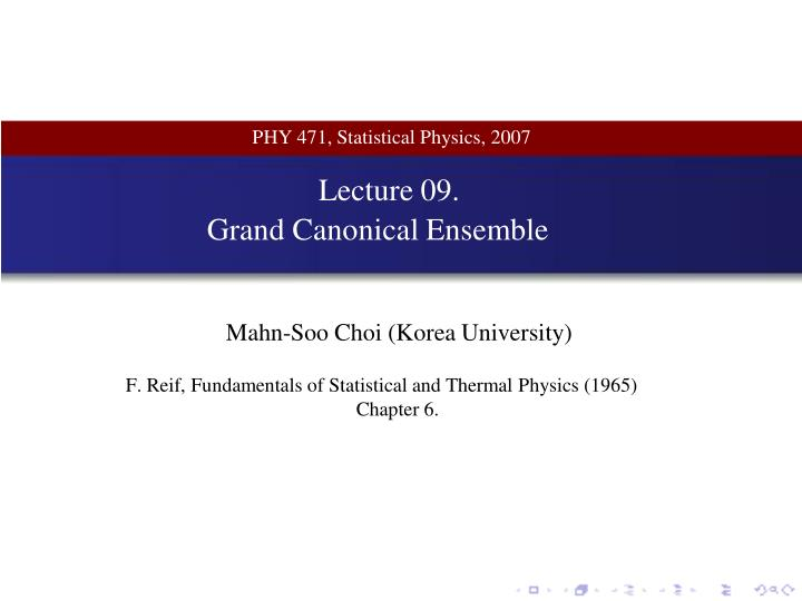 PHY 471, Statistical Physics, 2007