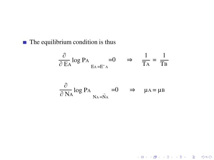 The equilibrium condition is thus