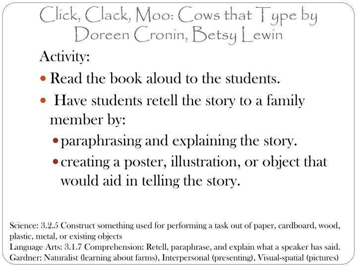 Click, Clack, Moo: Cows that Type by Doreen Cronin, Betsy Lewin