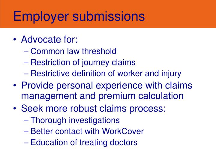 Employer submissions