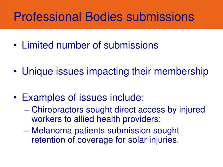 Professional Bodies submissions