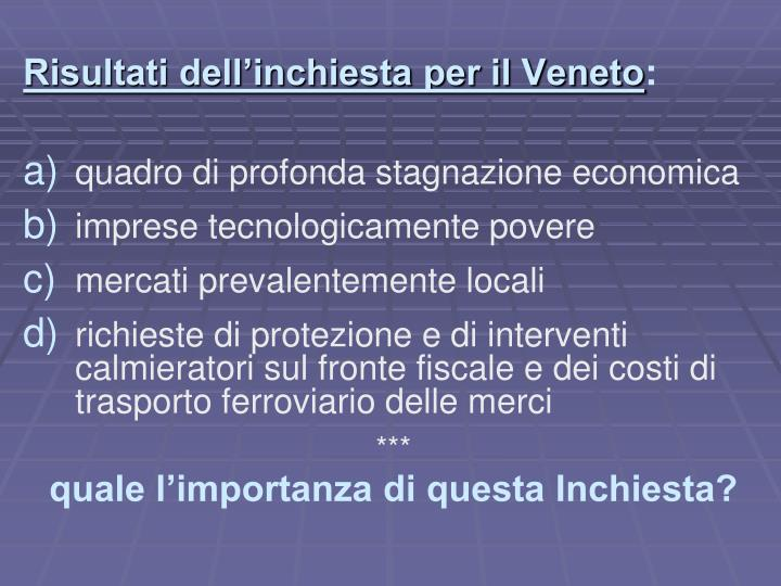 Risultati dell'inchiesta per il Veneto