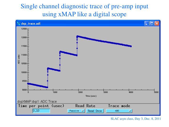 Single channel diagnostic trace of pre-amp input